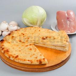Осетинский пирог с грибами, курицей, капустой фото